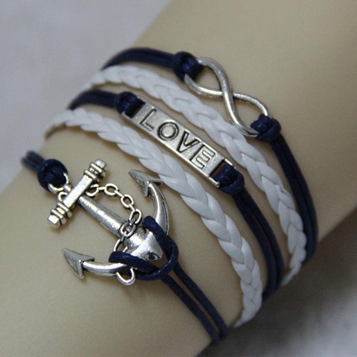Multilayer Braided Bracelets Of Retro Silver Tone Anchor Love Pendant Dark Blue White Woven Leather Bracelet