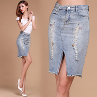 Free Shipping 2014 Summer The New Fashion Large Size Denim Bust Skirt Denim Package Hip Skirts Womens,S M L XL 2XL 3XL 4XL 5XL