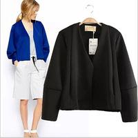 Autumn 2014 new women's V-neck lantern sleeve dark sports jacket coat free shipping Elastic skt074