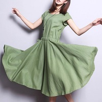 Free Shipping  2014 Women's Summer New Large Size Loose Small Fresh Short-sleeved Casual Dress,Cotton Dress,S M L XL 2XL