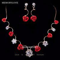 free shipping luxury bridal jewelry new  wedding jewelry set pendant necklace  rose earring , crystal rhinestone jewelry set