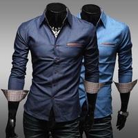 2014 Men's Casual Blouse Pocket Decoration Denim Long Sleeve Shirts Dark Blue Light Blue M L XL XXL