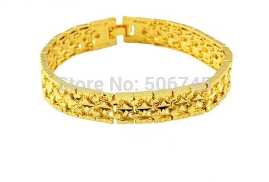 Wholese--12pcs New Fashion 24k Gold Plated Mens Adjustable Length Jewelry Bracelet Gold Golden Bracelet Bangle.Free shipping!!(China (Mainland))