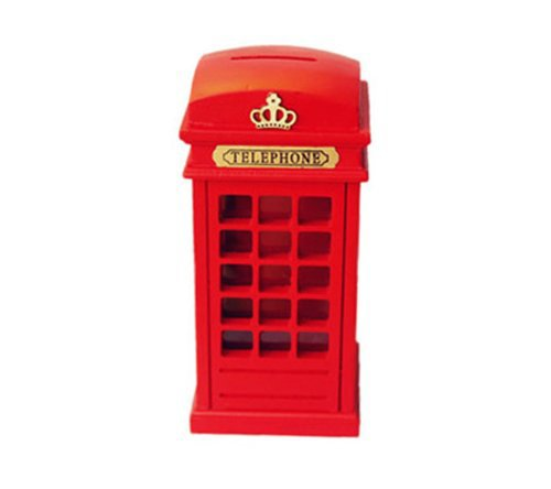 Red Wooden Britain telephone booth coin banks booth money box piggy bank(China (Mainland))
