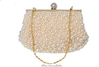 new arrival Luxury dual pearl  Clutch Evening dinner Bag. Rhinestones double pearl Women chain Messenger Bag on sale 14M
