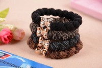 10pcs/lot 60mm Gold Plated Bowknot Black Elastic Ponytail Holders Hair Accessories Girl Women Rubber Band Tie Gum (Mix Colour)