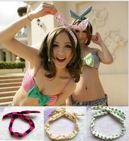 Retail 1PCS /lot Rabbit Bunny Ear DIY Wire cute girl Headband Scarf Hair Band Bow Head Wrap Polka dot Colorful