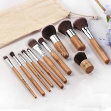 11pcs/Pack Vintage Eyeshadow Foundation Concealer Wood Handle Makeup Cosmetic Brush Set