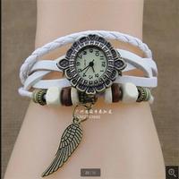 Fashion Leather Women's Analog Quartz Antique Watch Lady Bracelet Vintage Wristwatch with leaves Pendant. free shipping!