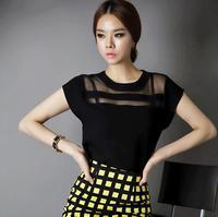New Ladies Black Tulle Sheer Blouses Shirts Women's Tops Chiffon Blouse Short Hollow Out Blusas Femininas Summer KL1000