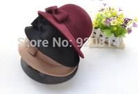 Woolen hat bow retro  female autumn and winter hat fedoras