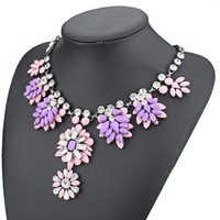 2014 new design high quality fashion brand jewelry necklace for women pink shourouk resin stone flower necklace