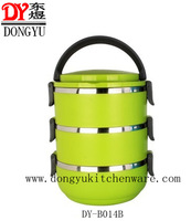 Factory Export Three Layers Green Color Food Containers/Manufacture Price Promotional Stainless Steel Lunch Box DY-B014B