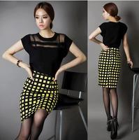 Fashion Plaid Skirts Women High Waist Long Pencil Skirt Female Clothing KL1001
