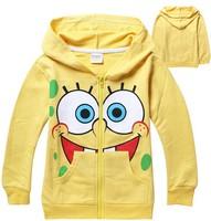 New hot boys cartoon spring autumn outerwear kids long sleeve SpongeBob coat children's cute sports jackets hoodies in stock