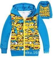 Retail baby boys girls jacket Children's cartoon Minions Hoodies/Sweatshirts spring coat Kids hoody/tracksuit