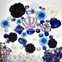 Bling Crown Phone Deco DIY Phone Case Set Flat Back Alloy Deco Kits Blue Fimo Black Resin Flower White Sunflower