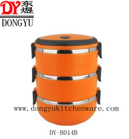Factory Export Three Layers Colorful Food Containers/Factory Price Promotional Lunch Box with Cover and Three Bowls