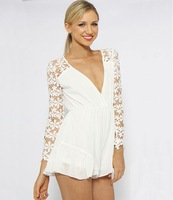 2014 new summer super sexy long-sleeved chiffon skirts , bare-chested deep V Siamese