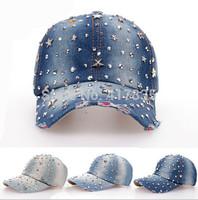 2014 new design most popular fashion rhinestone  denim brand women baseball cap hat for men adult jean snapback caps