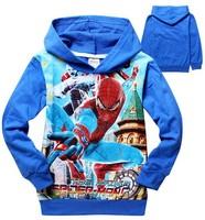 2014 New design boys cartoon spider man hoodies kids spring autumn terry sweatshirts children's leisure hoody coat in stock