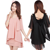 New Spring 2014 Ladies Chiffon Sexy Dress Warm Fashion Summer Casual Dress Women Dresses Free Shipping