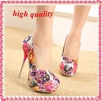 flowers print women wedding shoes woman new 2014 platform pumps fashion girls spring autumn sexy Crystal high heels 14cm Z913