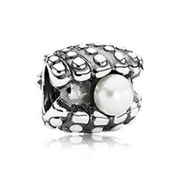 "PS809 European 925 Sterling Silver bead ""ONE OF A KIND, WHITE PEARL"", Minimum order limited is US$15 in this store"