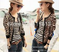 new 2014 Autumn han edition long-sleeved cardigan jacket leopard grain short coat small coat