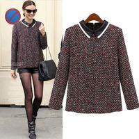 Free Shipping Big size fashion women's spring and autumn women's fashion long-sleeve shirt collar wool sweater