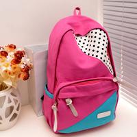 middle school students school bag travel bag color block decoration canvas backpack