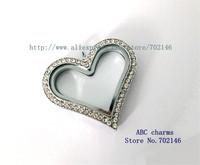 5pcs 30mm Chrome color Sparkle Heart Pendant Living Floating Memory Glass Locket JK21-3