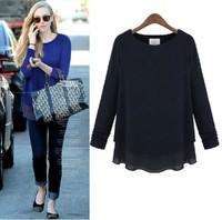 Free Shipping 2014 spring women's long-sleeve sweater plus size chiffon shirt loose t-shirt female