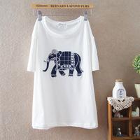 2014 summer new women's short-sleeved embroidered cartoon elephant t-shirt 901