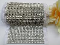 (CM787) 5 Yards 24 Rows Clear China A Grade Rhinestone Crystal Mesh Trim Wedding Decoration
