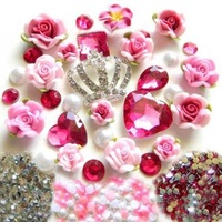 Hot Pink Phone Deco Plumeria Rubra Bling Alloy Crown Flat Back Cabochon KIT for DIY Phone Case Rose Pink Fimo Cabochons