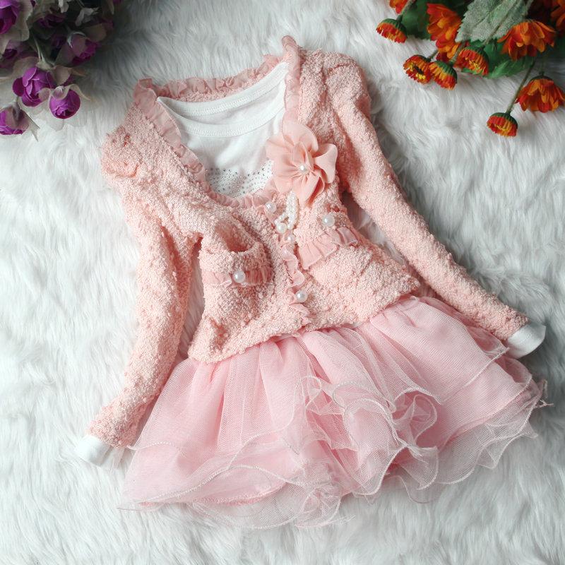 2014 summer thunder silk long sleeve girls children suit flower princess dresses beige pink party two piece(China (Mainland))