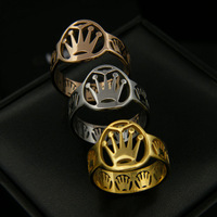 Gurantee 100% 316L Titanium Steel Brand crown 18K rose gold plated Amethyst open ring-Free Shipping New gift 2013  B810