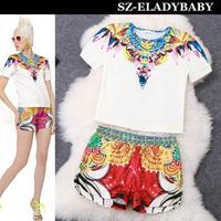 Free Shipping 2014 Spring summer New Women Runway Fashion Print Gemstone Short Sleeve O-Neck Shirts Elastic Casual Shorts Set