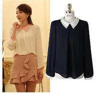 Free shipping Fashion plus size clothing long-sleeve mm chiffon shirt loose top women's