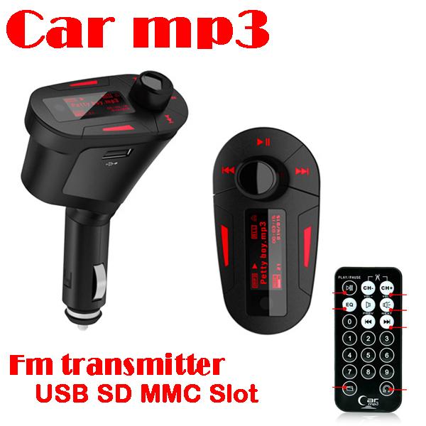 50% shipping fee 10PC Car MP3 Player Wireless FM transmitter With USB/SD/MMC Slot retail box(China (Mainland))