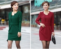 2014 New autumn winter Hot Fashion  Solid Color Package Hip long Sleeve Slim temperament Work Pencil Dress PLUS SIZE