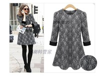 Free shipping autumn and winter big size clothing  fashion ruffle skirt wool line knitted lace one-piece dress