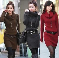 2015 autumn winter  fashion women's turtleneck long-sleeve sweater one-piece dress basic sweater