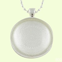 F1869sliver Necklace Sets: 25mm Circle Pendant Trays + 25mm Glass Cabochons  + 24 Inches Ball Chain necklaces+DIYpicture