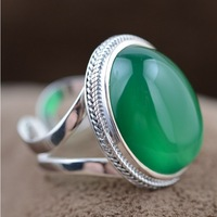 100% real pure 925 sterling silver jewelry elegant chrysoprase women silver 925 rings resizable best gift free shipping MN20421