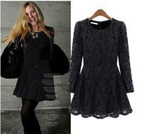 Free shipping Big  size clothing basic skirt fashion slim lace one-piece dress
