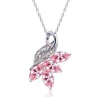 Fashion sweet elegant austria crystal maple leaf pendant female chain fashion accessories