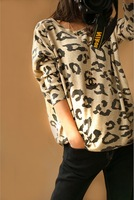 New Arrival Women's Winter Pullover Sweaters Leopard Print Loose Batwing Sleeve Sweater Knitted For Winter/Autumn