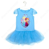 Retail Frozen TuTu Dress  Elsa Anna Princess Party Brand Dress Summer Short Sleeve Shimmer Mesh Dress Girl Clothing Fit  4-9 Age